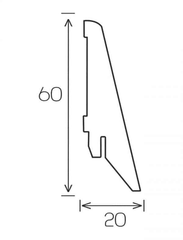 Schita plinta MDF 60 mm. Plinta 60 mm gama Motion.
